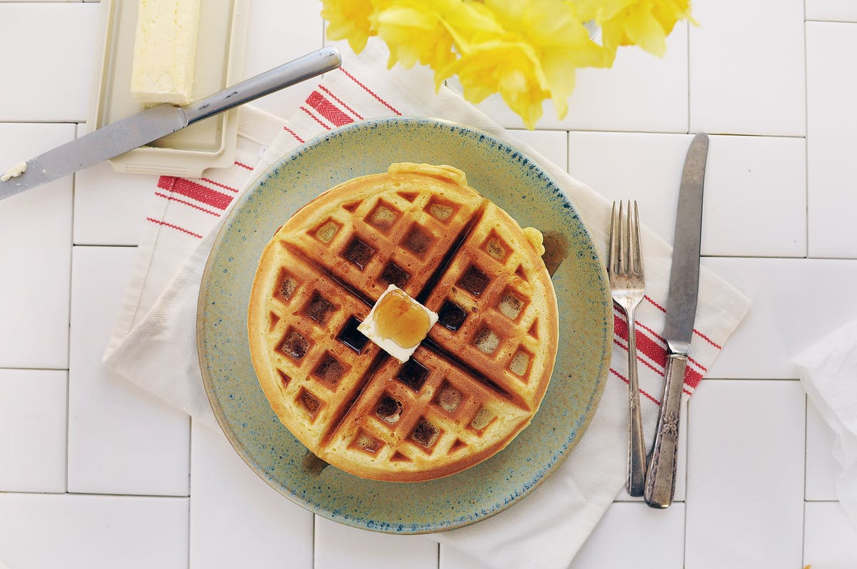 a waffle on a table
