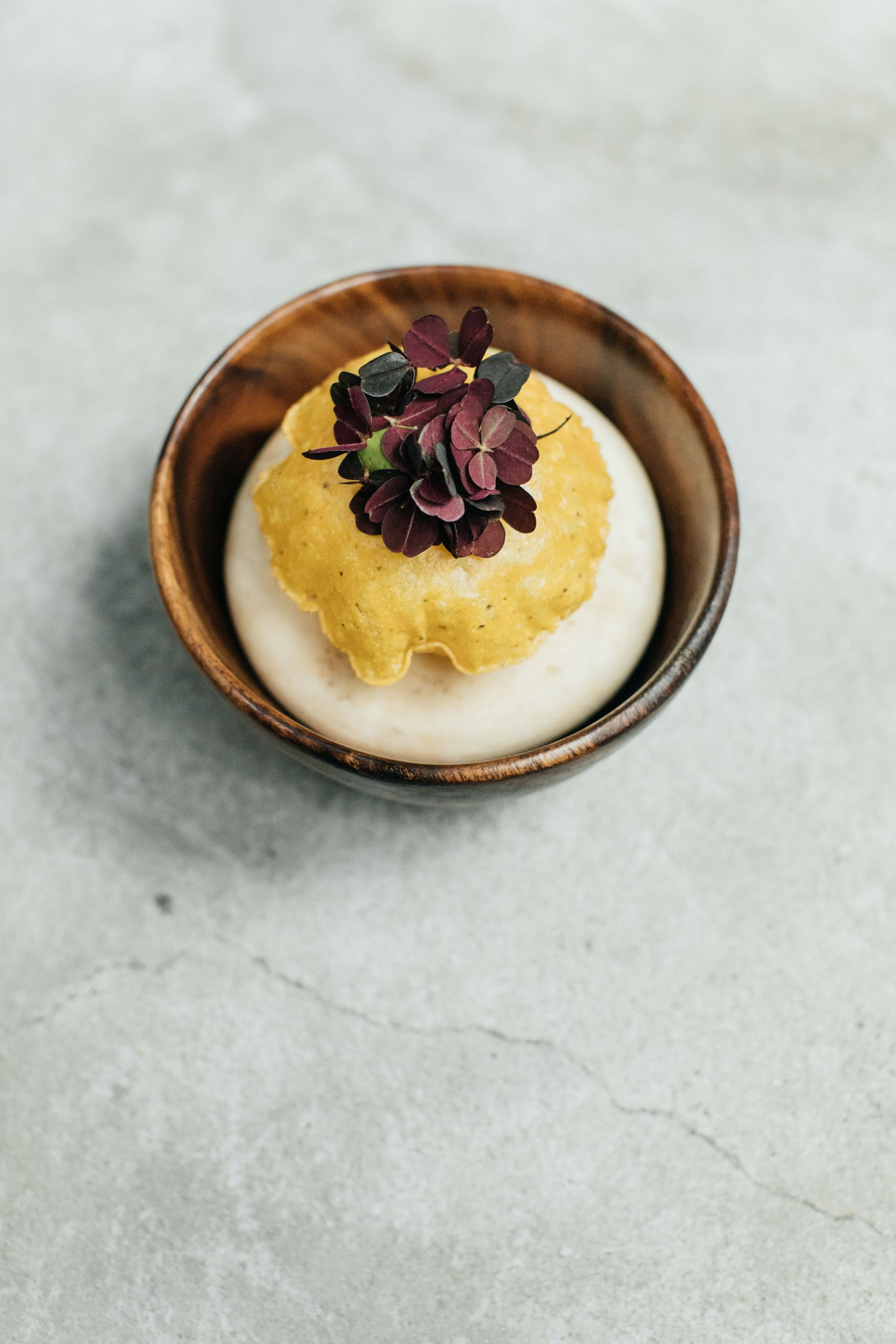 bowl with yellow and white food