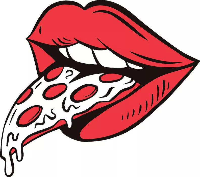 a drawing of lips with pizza
