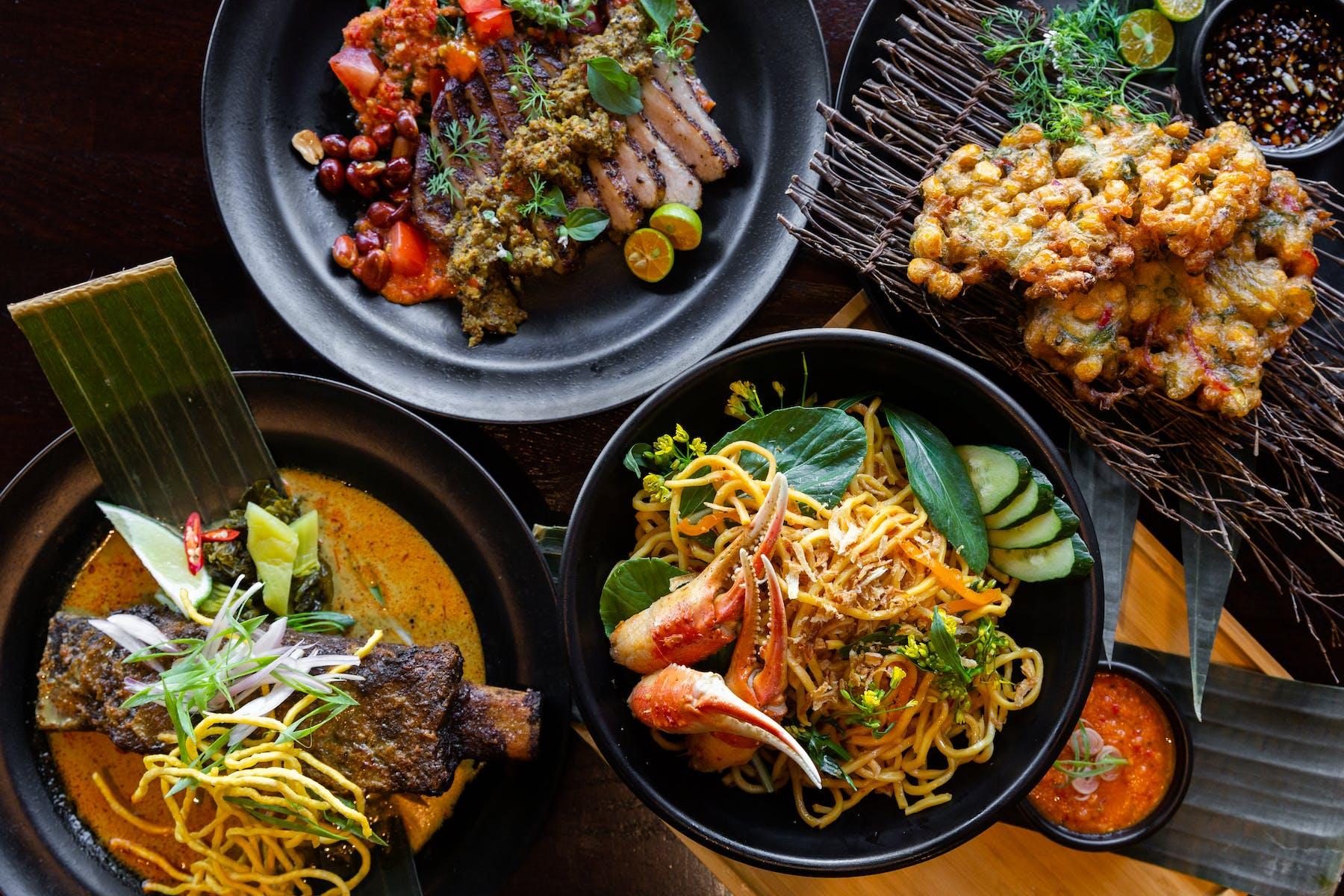 plates of modern indonesian food from warung siska restaurant redwood city