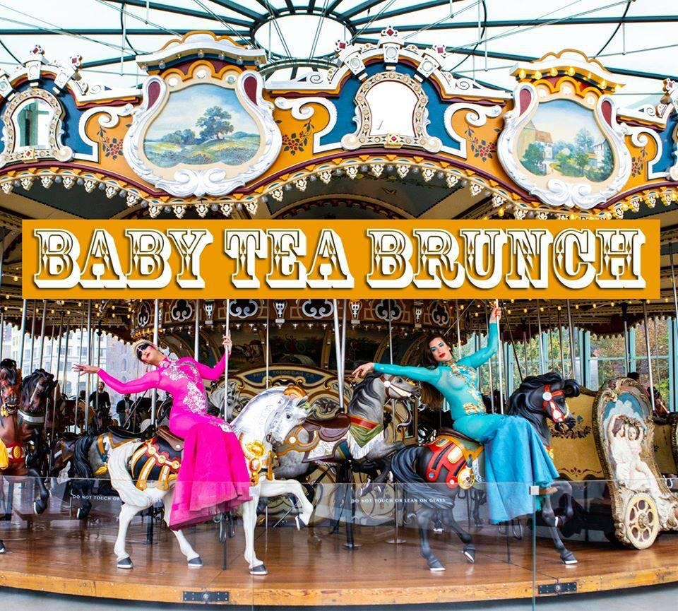 Baby Tea Brunch poster, two people on a carousel