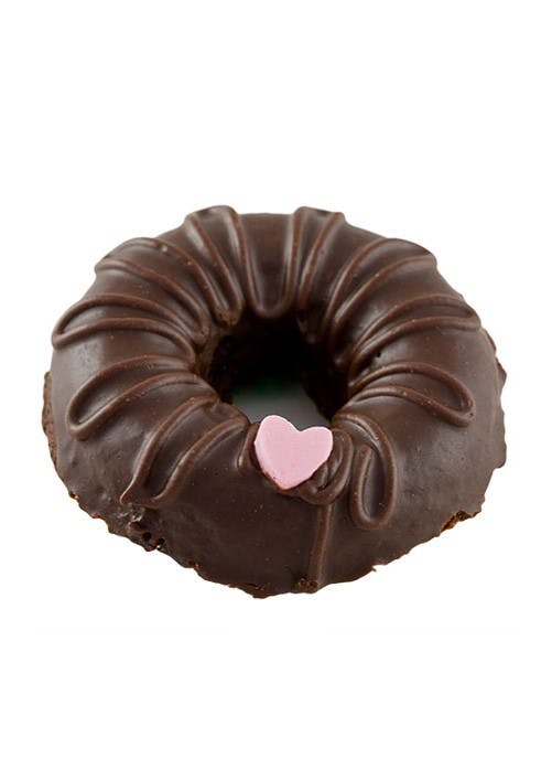 a large chocolate covered donut