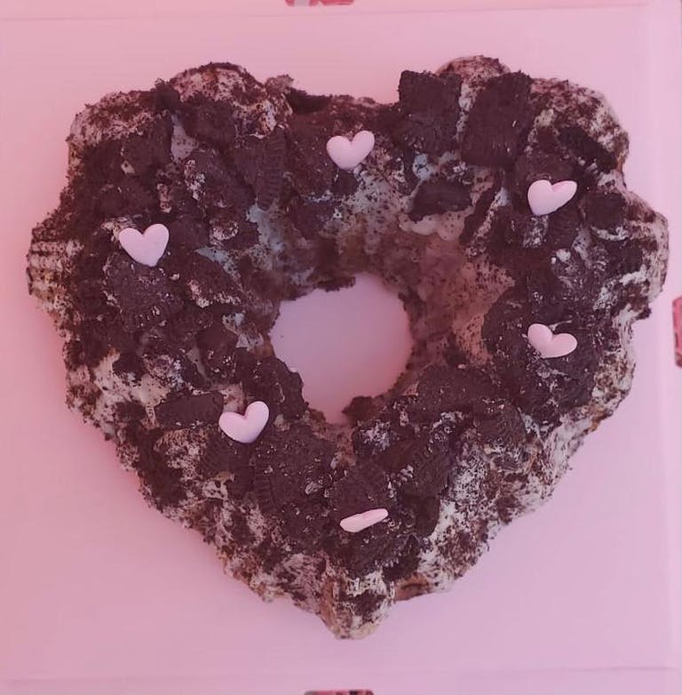 a chocolate covered donut