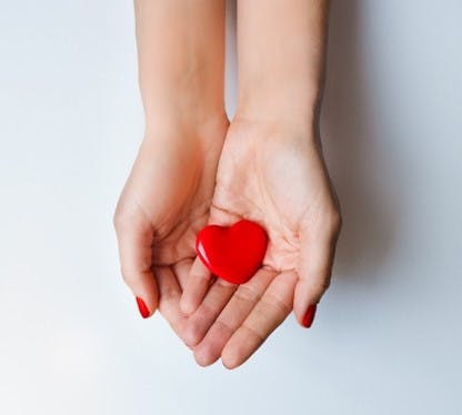 a hand holding a red heart