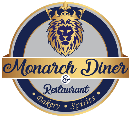 a blue and golden logo for Monarch Diner