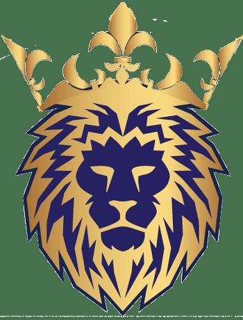 a blue and golden logo