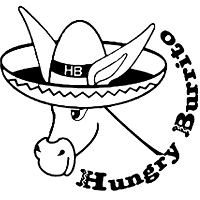 Hungry Burrito Logo with a donkey wearing a Mexican hat