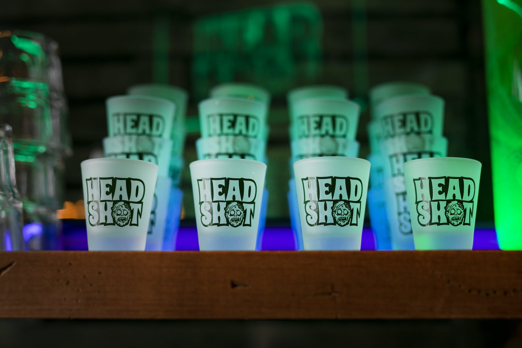 a close up of headshot shot glasses