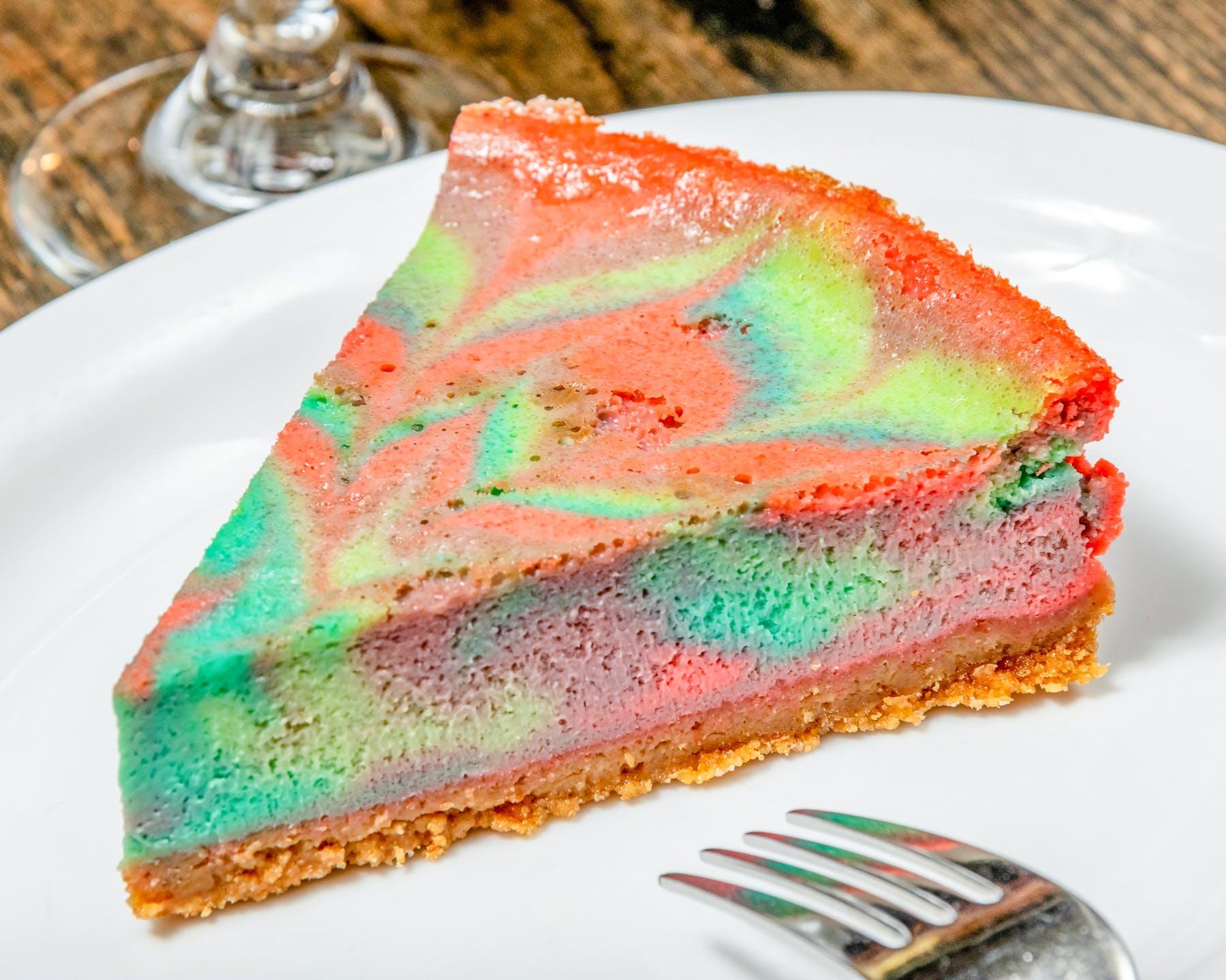rainbow swirl cheesecake dessert