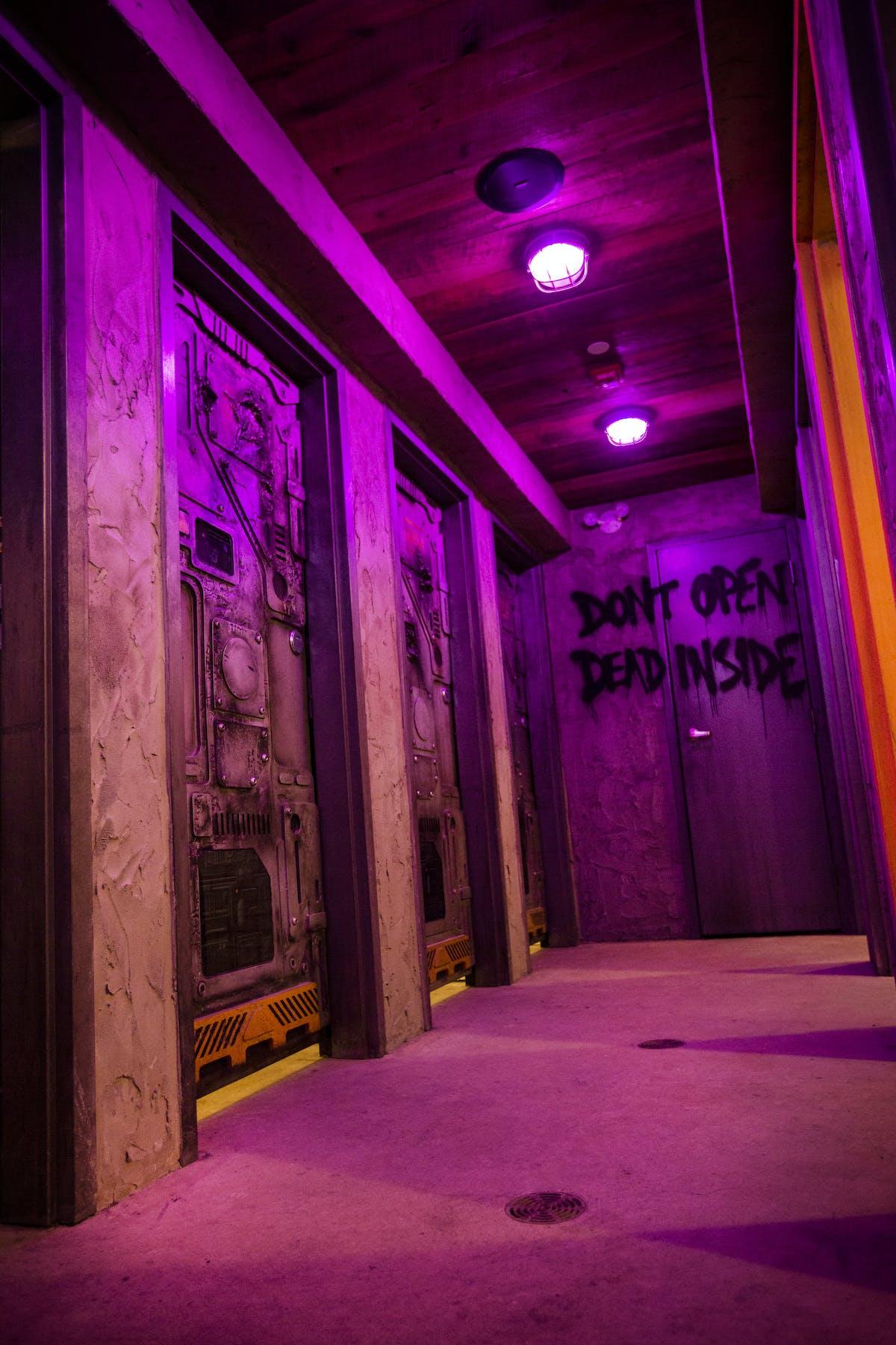 Purple lighted hallway