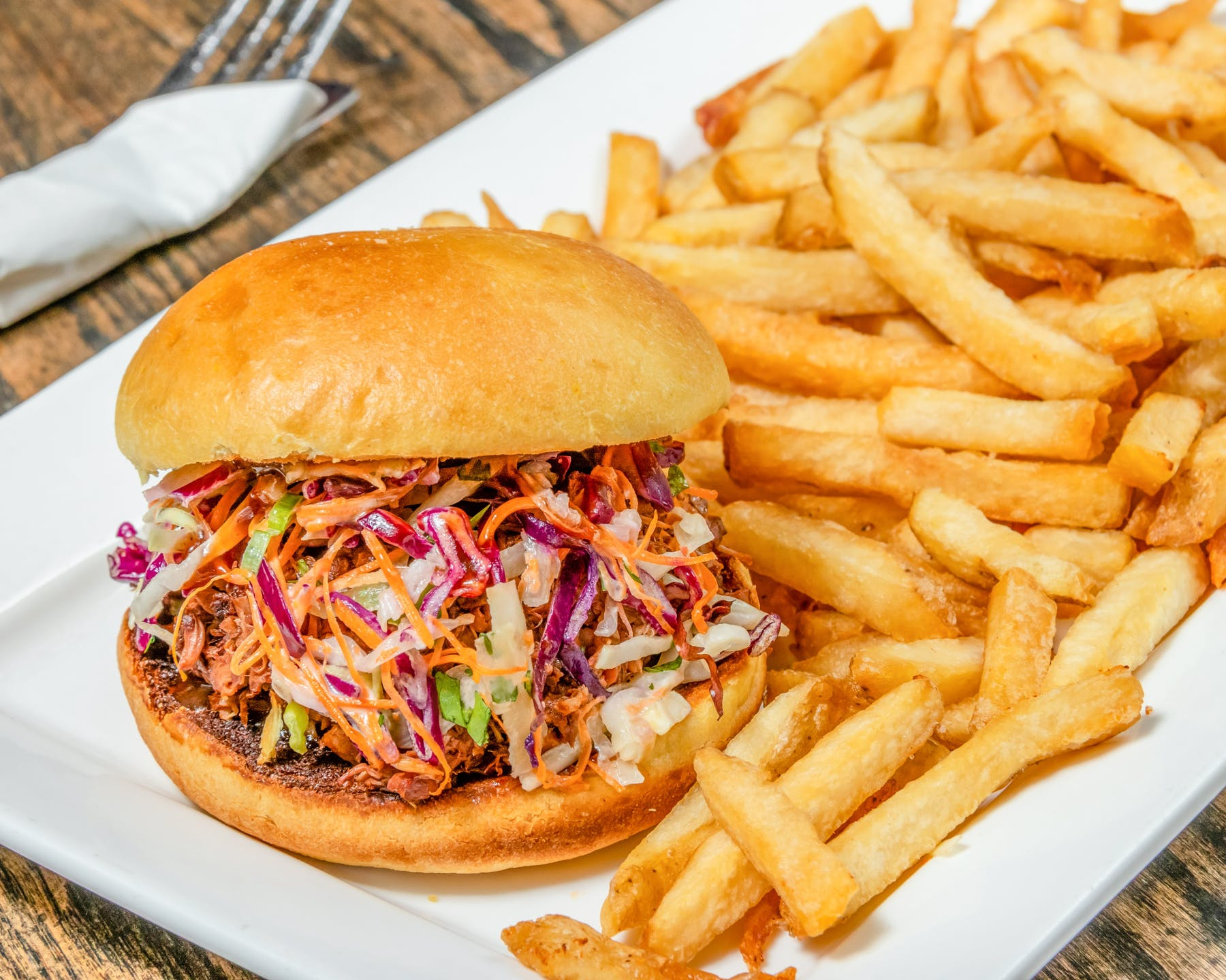 vegan pulled jackfruit sandwich with fries