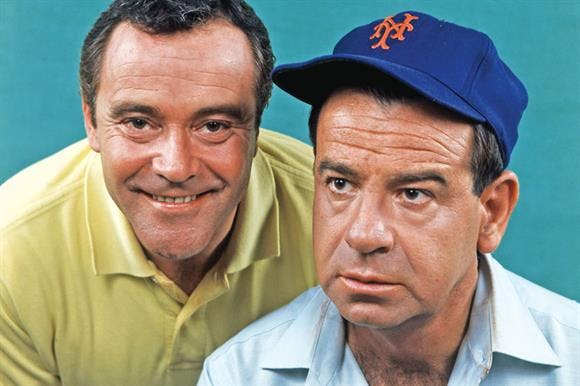 Jack Lemmon, Walter Matthau are posing for a picture