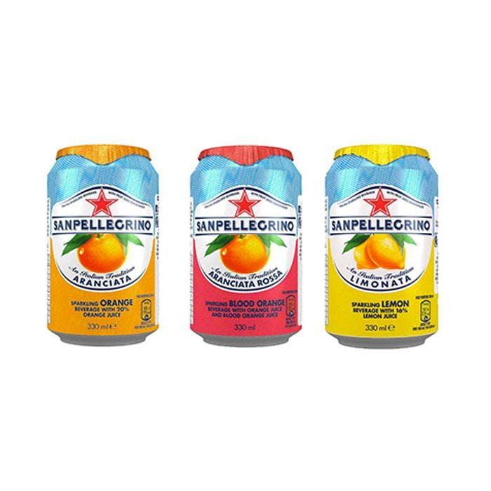 cans of san pellegrino