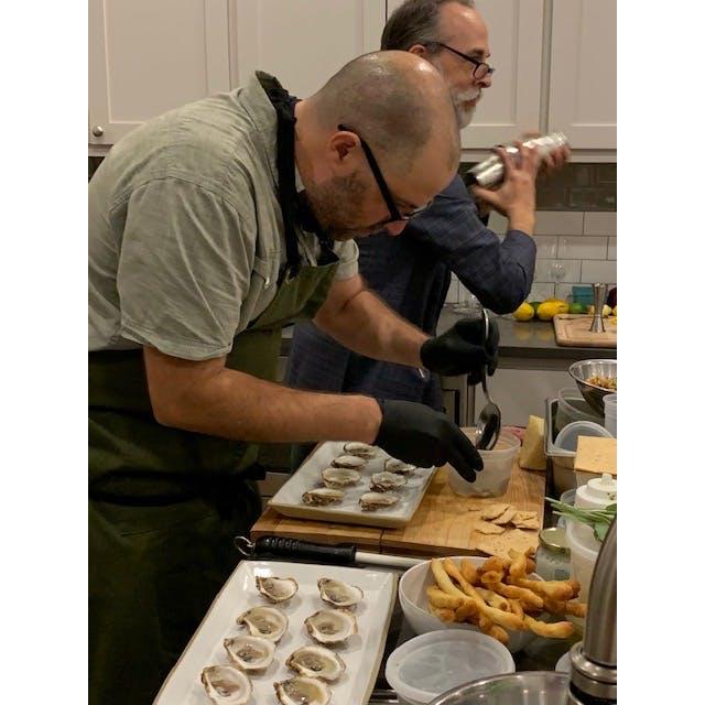 a man preparing food inside of it