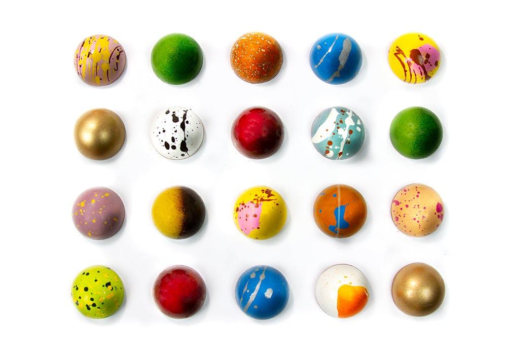 Colorful bonbons unboxed
