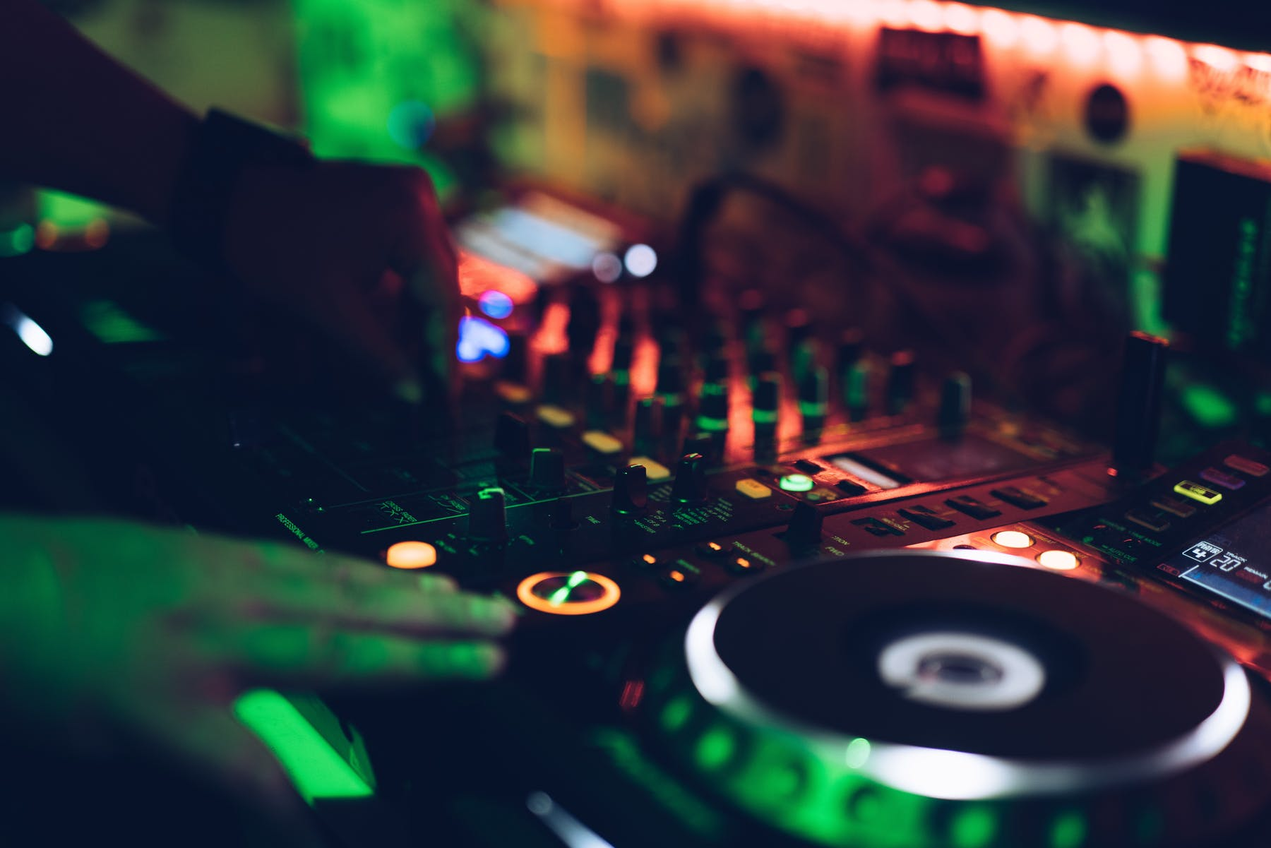 a close up of a dj table