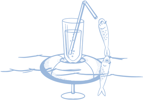 a logo of a fish drinking from a straw