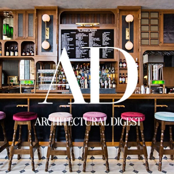 Bar with multicolored stools