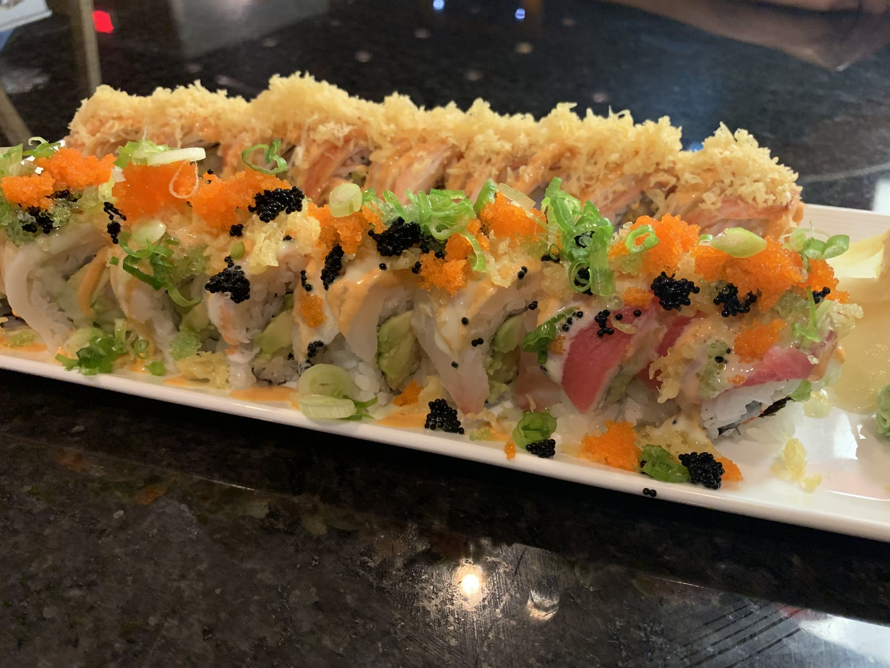 a close up of sushi