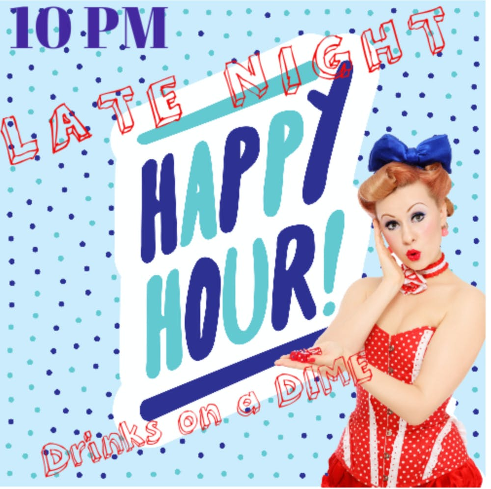 Drinks on a Dime Late Night Happy Hour menu poster