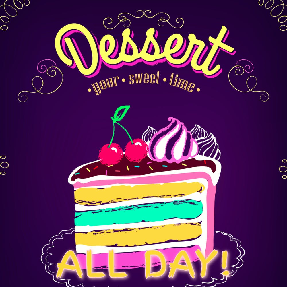 Dazed & Decadent Desserts menu poster