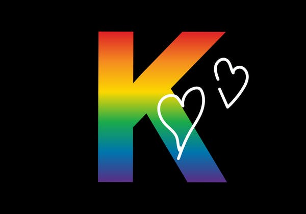 Kramers rainbow logo icon with hearts