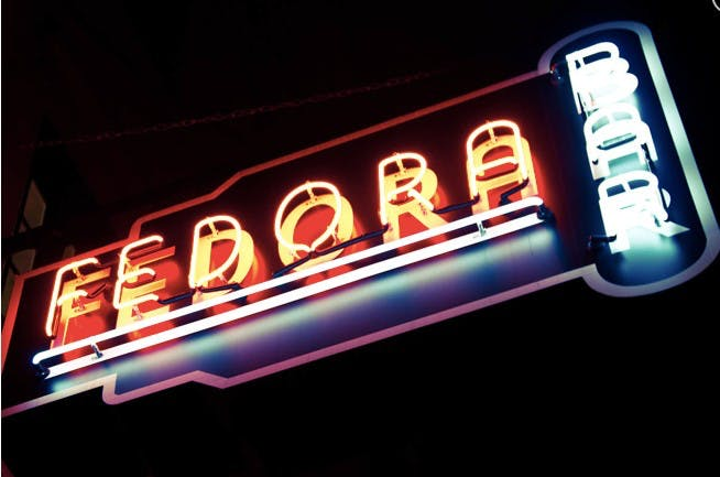 Fedora neon label