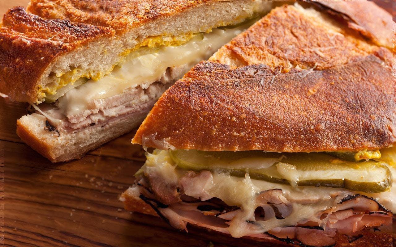 a mexican sandwich cut in half