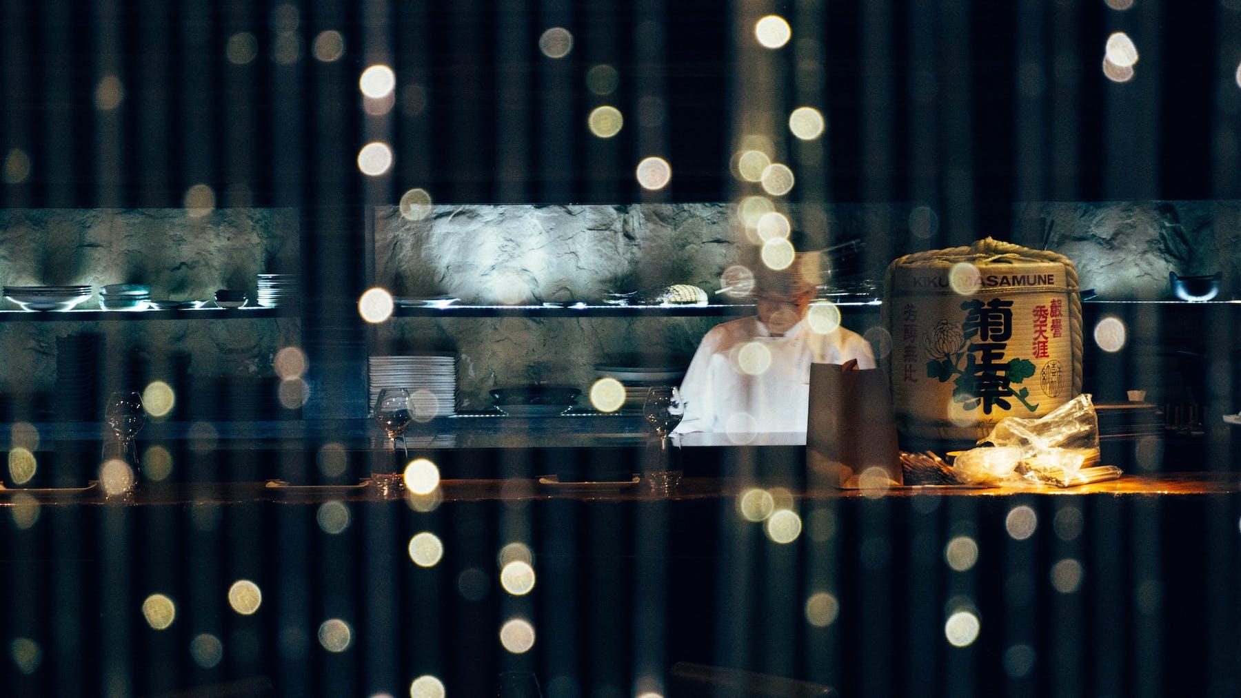 Chef Behind Sushi Bar