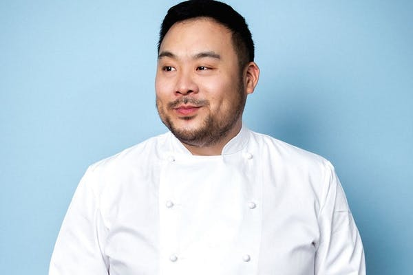 David Chang wearing a white shirt