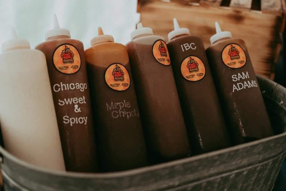several bottles of sauce