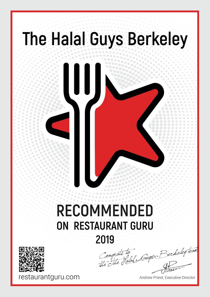 RestaurantGuru award for 2019