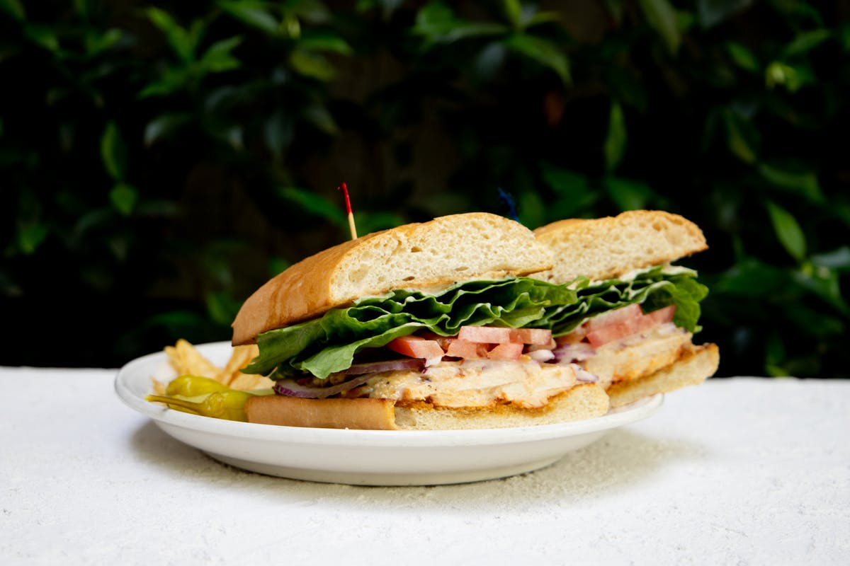 a sandwich sitting on top of a table