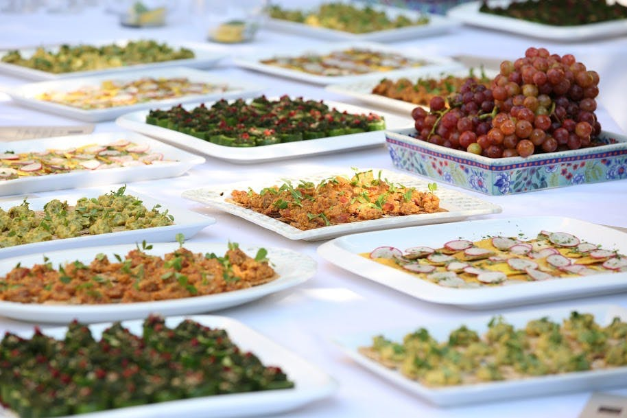 several food plates on a table