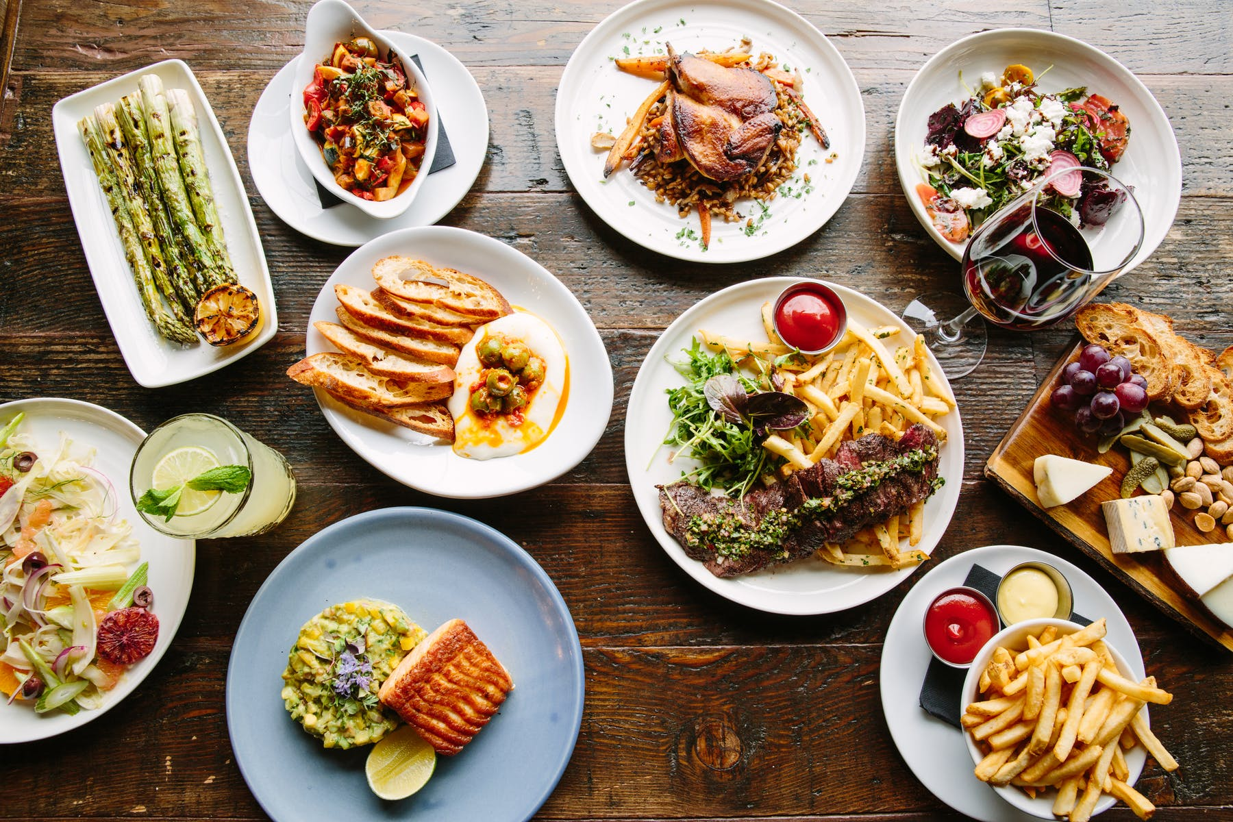many different types of food on a plate on a table