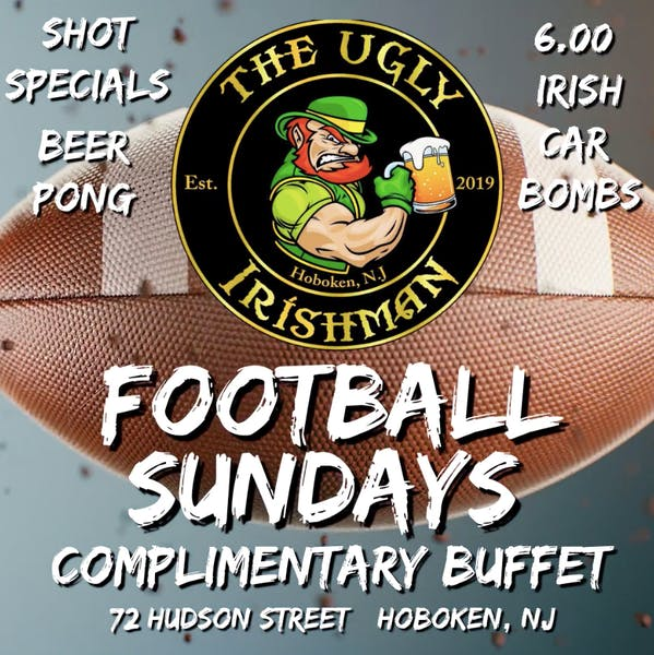 a flyer with football sundays information over a football with the Ugly Irishman logo