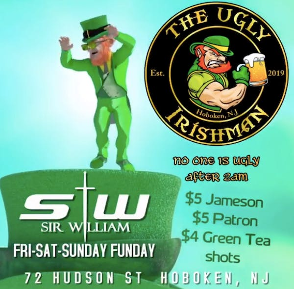 a flyer with drink specials information and a dancing leprechaun and The Ugly Irishman logo