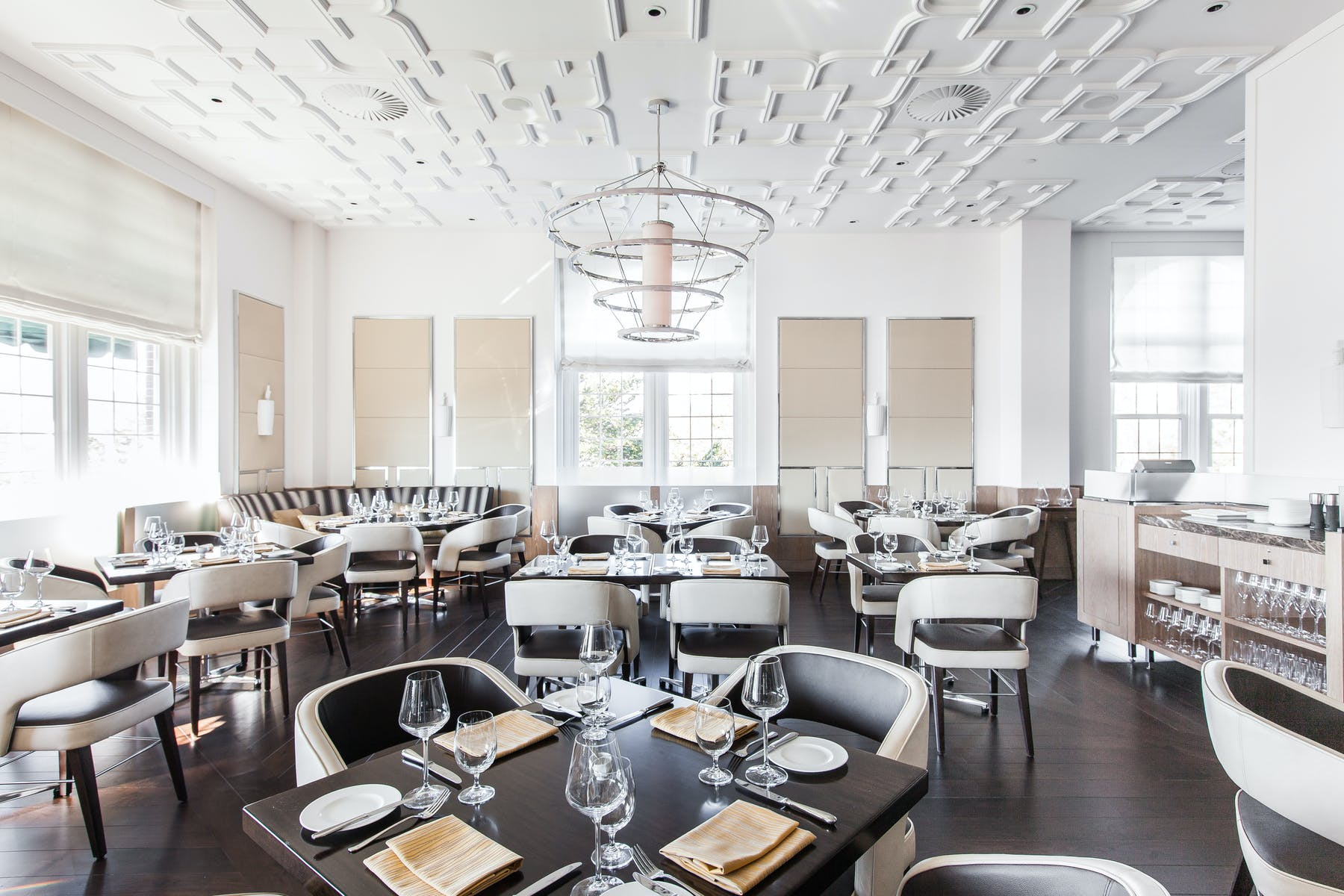 Interior of The Bocuse Restaurant dining room, on the campus of the Culinary Institute of America in Hyde Park, NY.