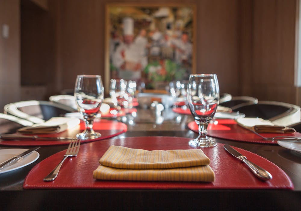 table setting in private dining room