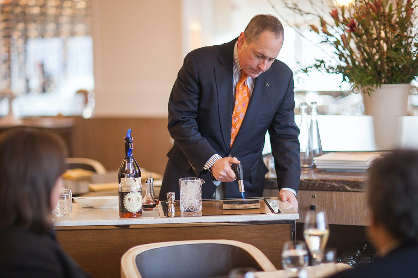 Tableside cart service, mixing cocktails at The Bocuse Restaurant at the CIA in Hyde Park, NY.