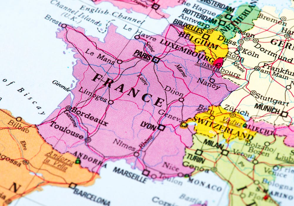 a map a french regions
