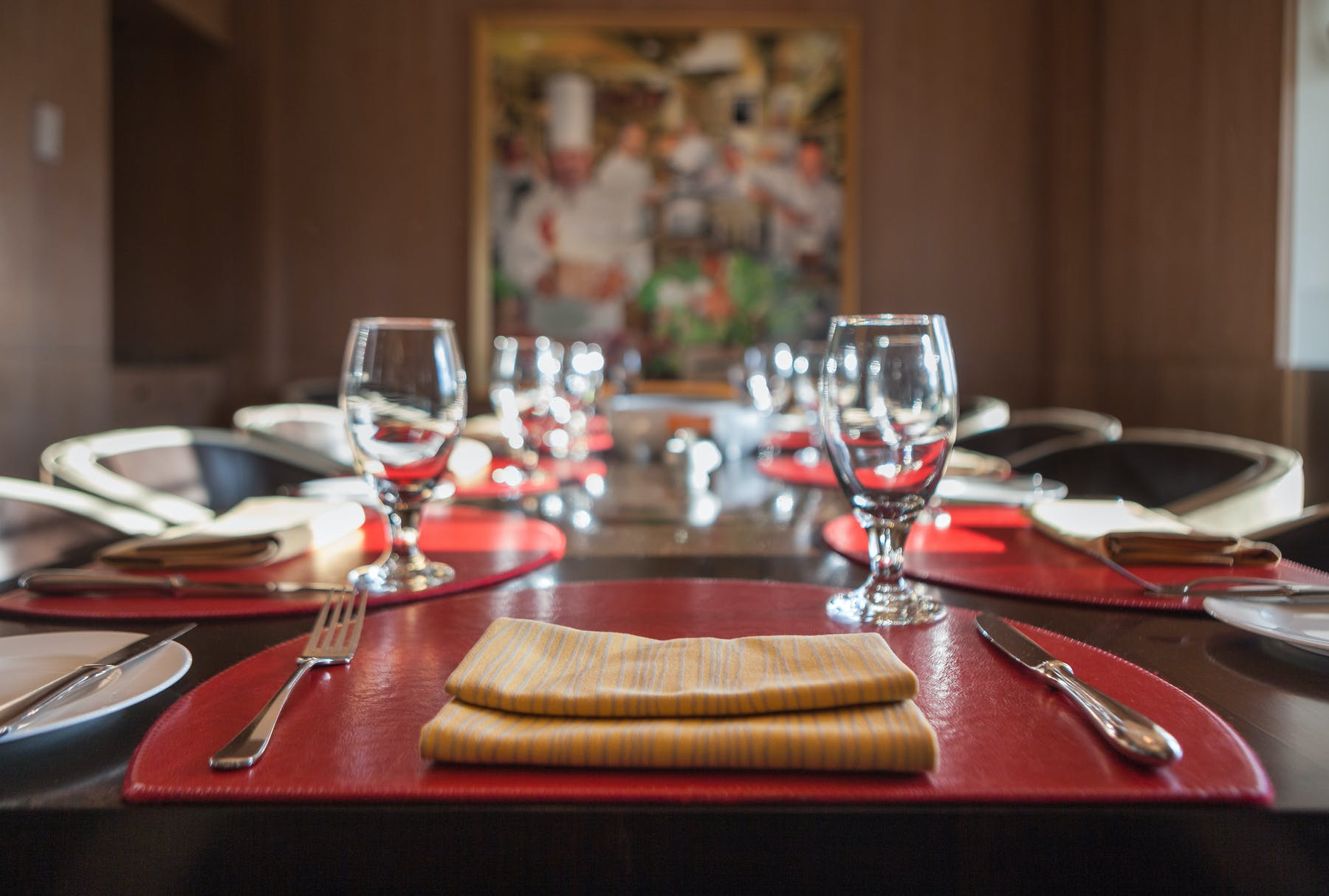 Table set in the private dining room at Bocuse Restaurant at The Culinary Institute of America in NY.