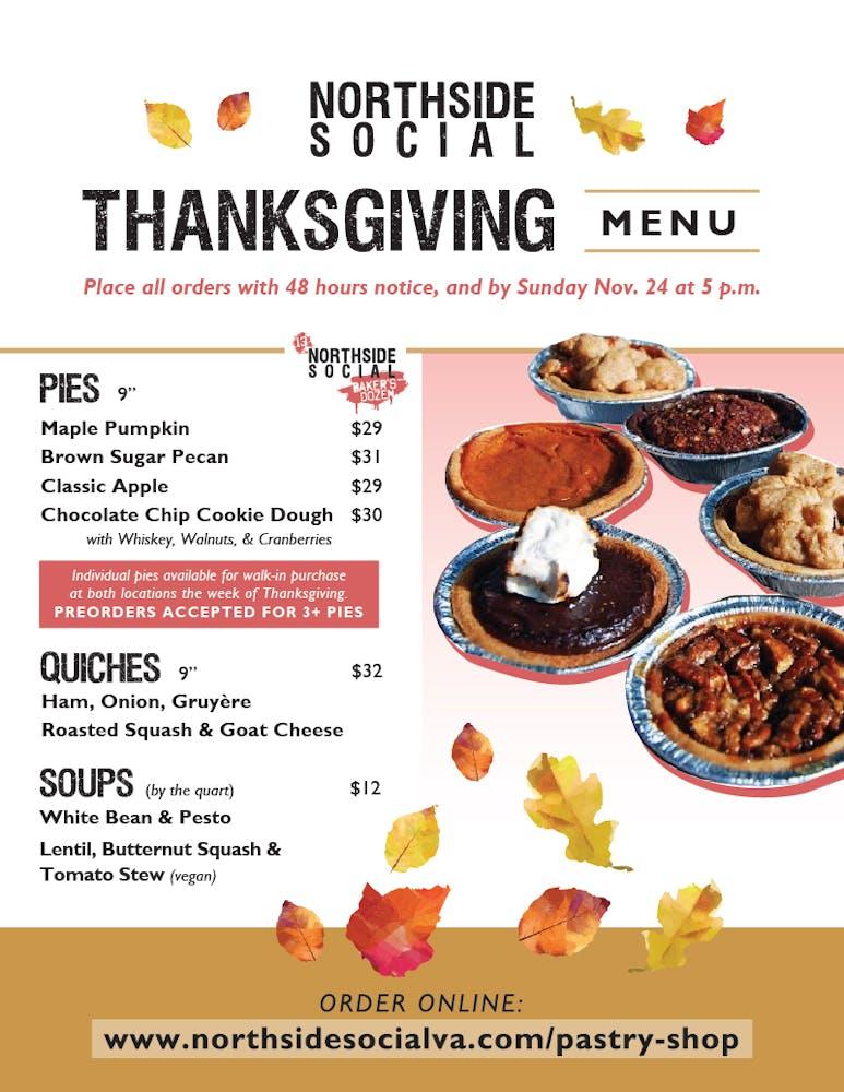 Northside Social Thanksgiving Menu 2019