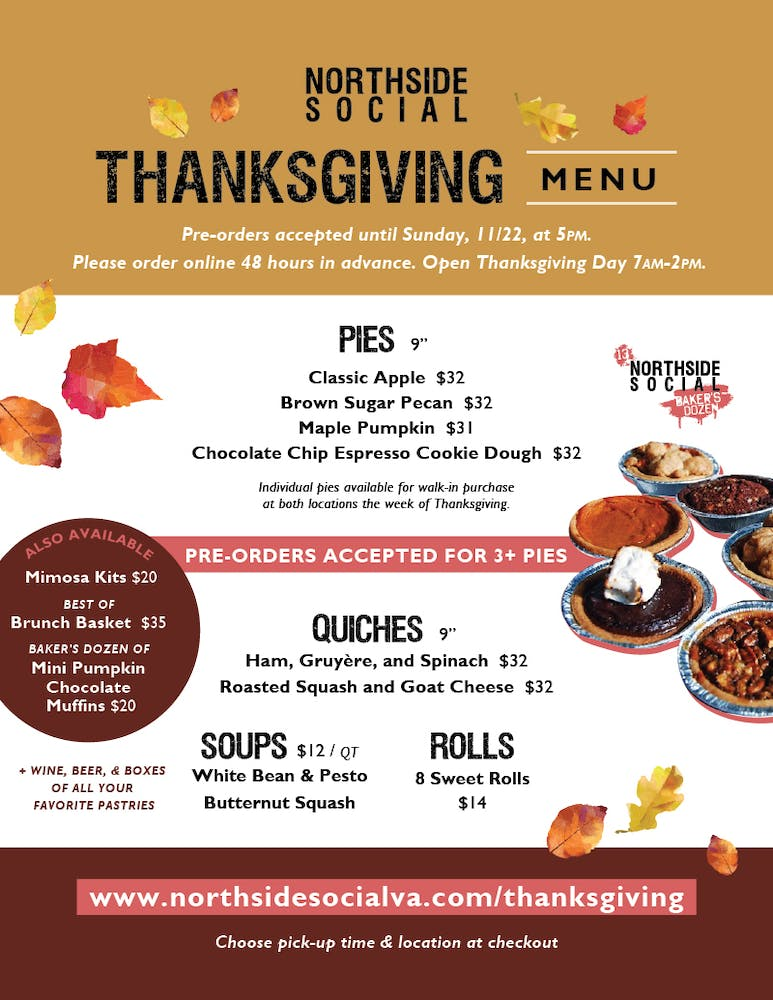 Northside Social Thanksgiving Menu 2020