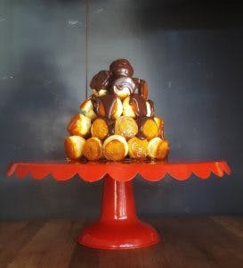 a dessert used as decoration on a table