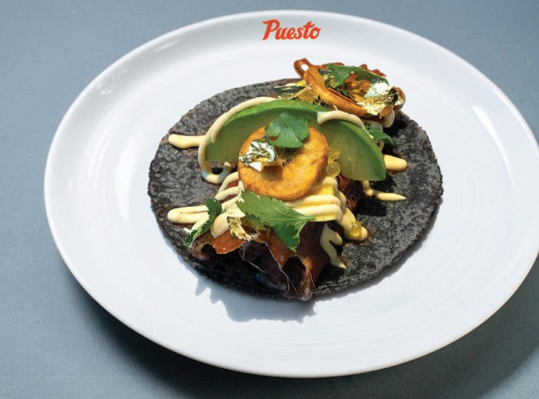 a blue tortilla taco on a plate