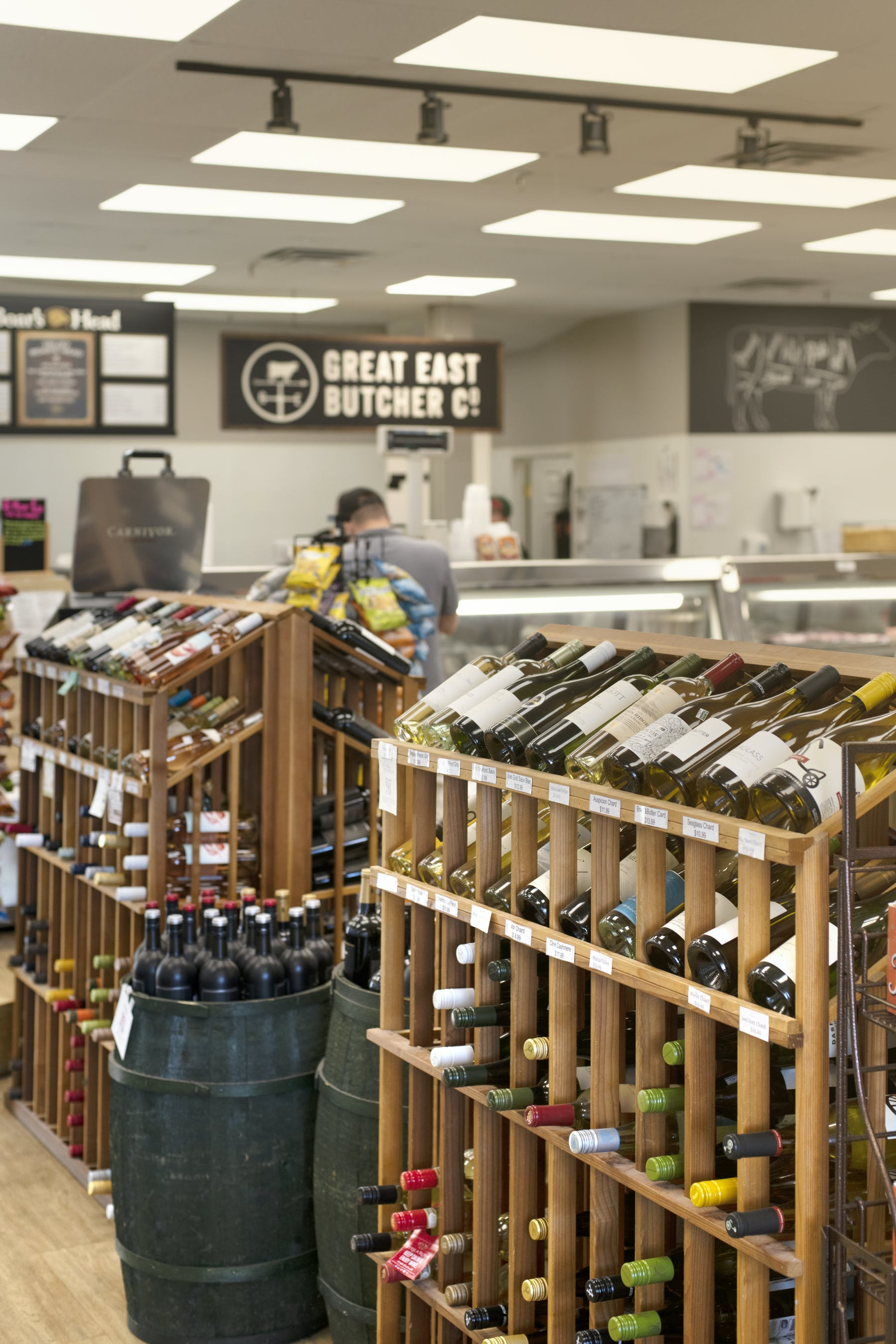 The wine section of burger provider The Great East Butcher in Portland, ME