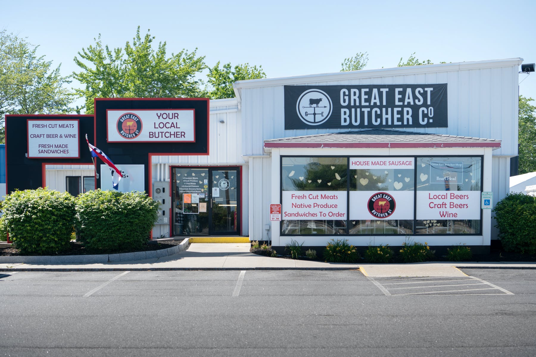 External shot of the building of The Great East Butcher in Portland, ME