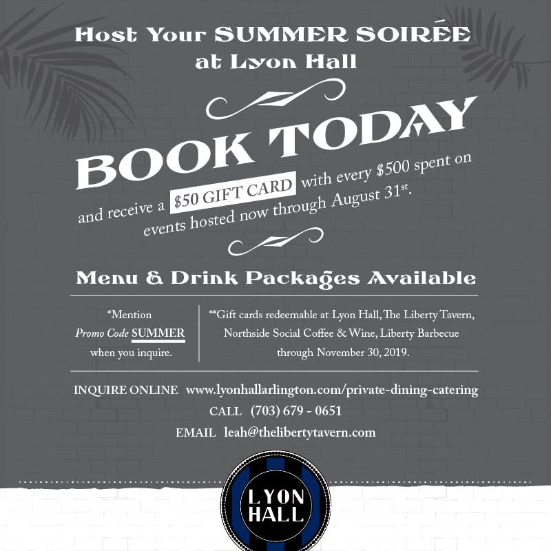 Lyon Hall Summer Private Dining Promotion