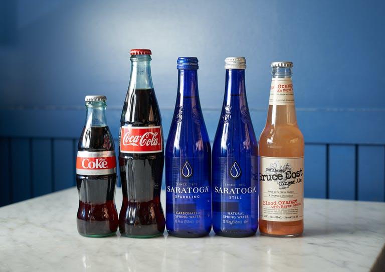 bottled beverages on a table